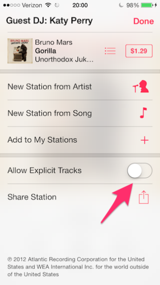 Move the Allow Explicit Tracks slider to On position